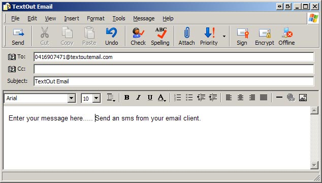 email to sms from outlook